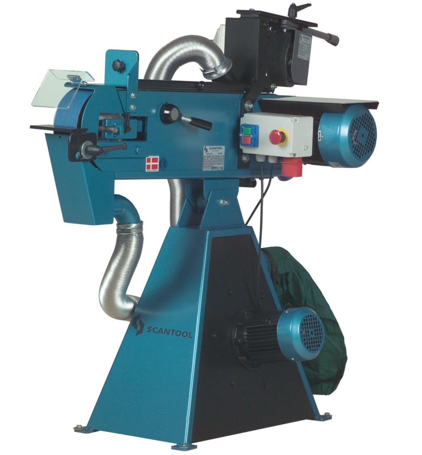 Szlifierka taśmowa Scantool 75CGX z przystawką do obróbki rur 6-120mm z odciągiem pyłów - 3,0 kW