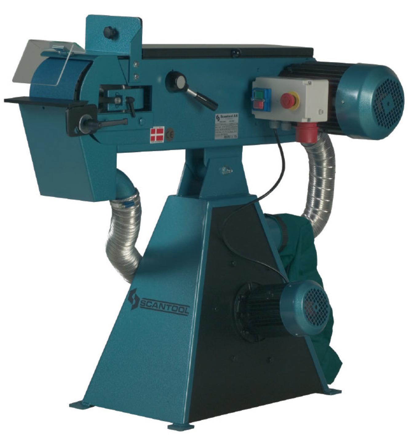 Szlifierka taśmowa Scantool 100x2000mm z wbudowanym odciągiem pyłów - 3,6 kW