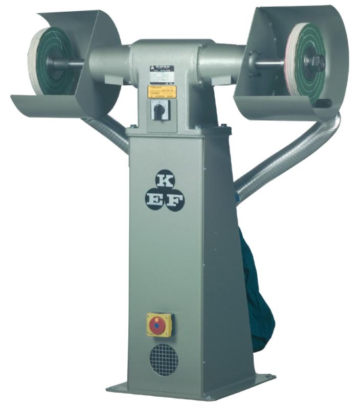 Polerka przemysłowa KEF Motor Model POD 10 - 1,5/2,0kW - 2 prędkości wrzeciona - na podeście z odciągiem pyłów